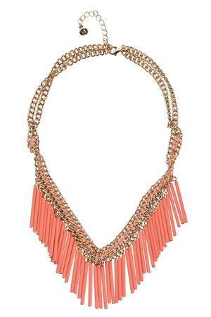 Brass And Cotton Coral Statement Necklacke