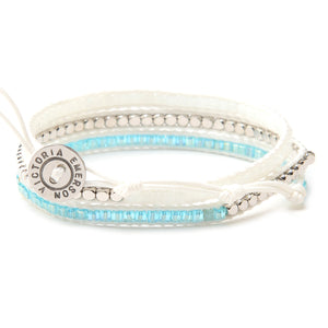 White and Blue Crystals on Ivory- Vegan