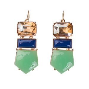Blue, Green And Canary Statement Earrings
