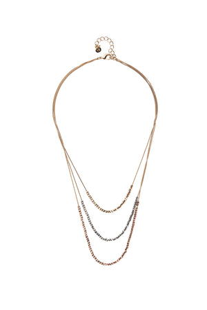 Delicate Beads Three Tone Necklace