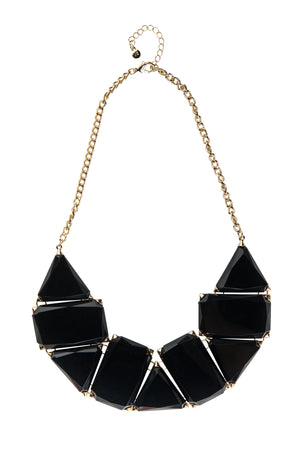 Black Enamel Stone And Gold Statement Necklace