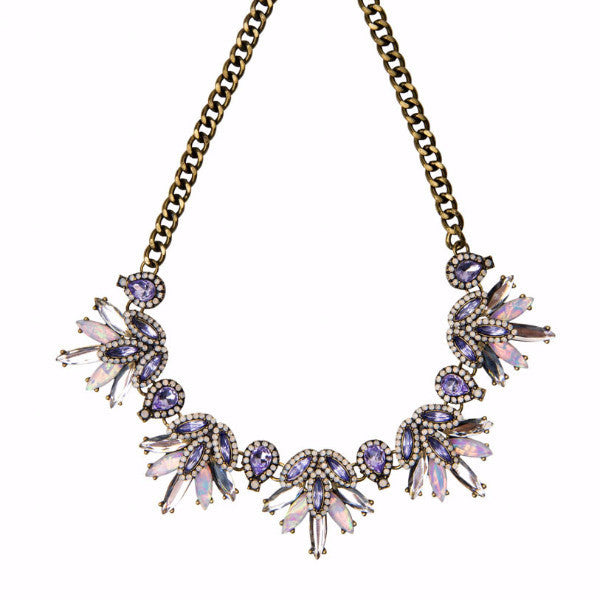 Champagne & Iris Statement Necklace