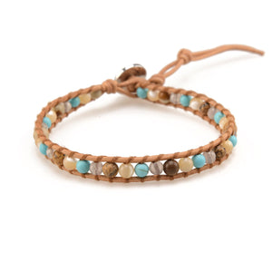 Turquoise & Shell on Natural -Single Wrap