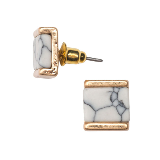 Howlite and Gold Studs