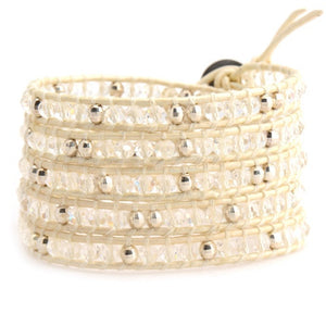 Clear and Metallic Crystals on Ivory