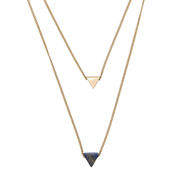 Layered Lapis Triangle Necklace