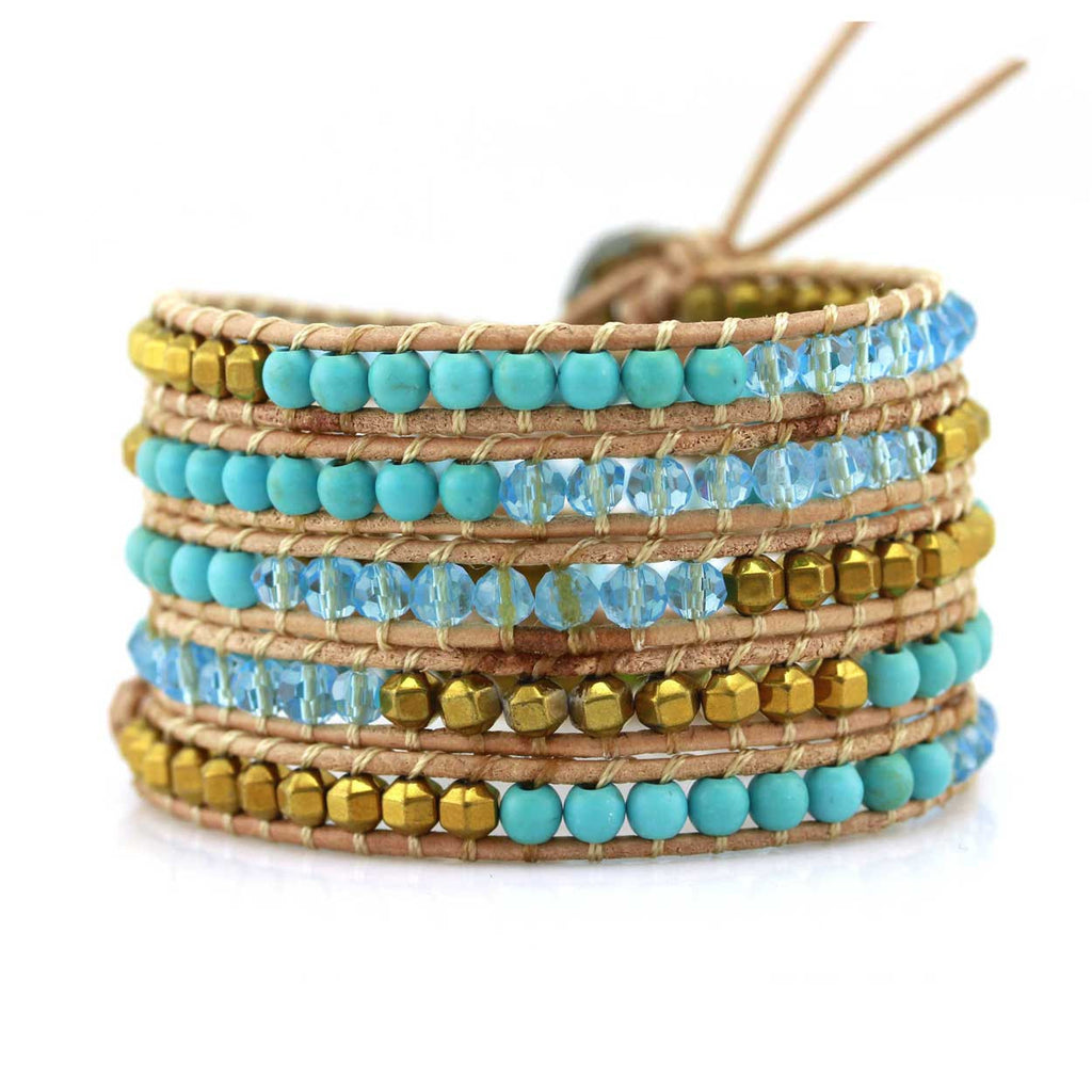 Mixed Turquoise and Gold Beads on Natural