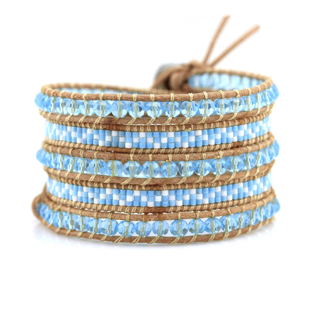 Turquoise crystals and miyuki seed beads on natural