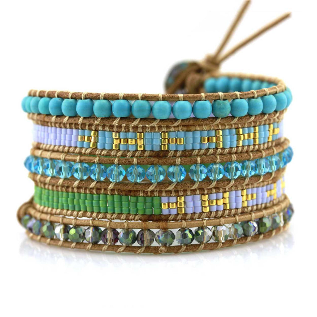 Turquoise, Crystals and Seed Beads on Natural