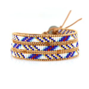 White, Blue And Red Navajo Inspired Wrap