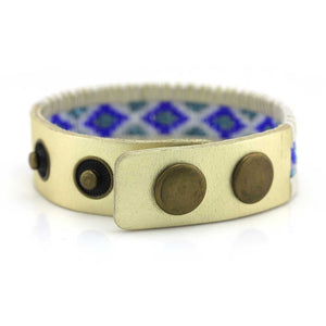 Snap Wrap with Blue Seed beads on Leather
