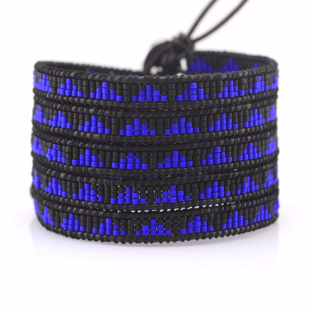 Cobalt Blue Seed Beads on Dark Brown