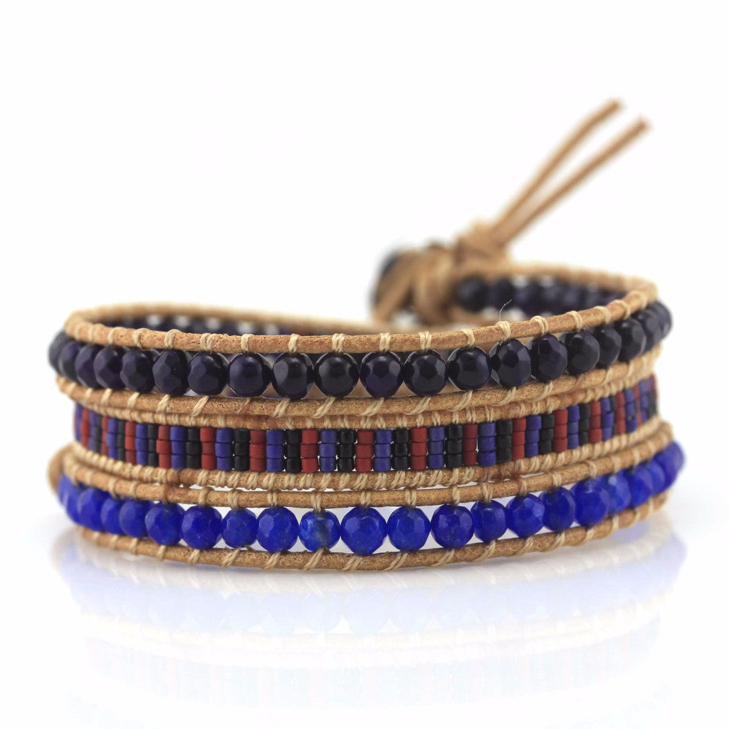 Navy Blue and Black Crystal and Miyuki Seed Bead Mix on Natural