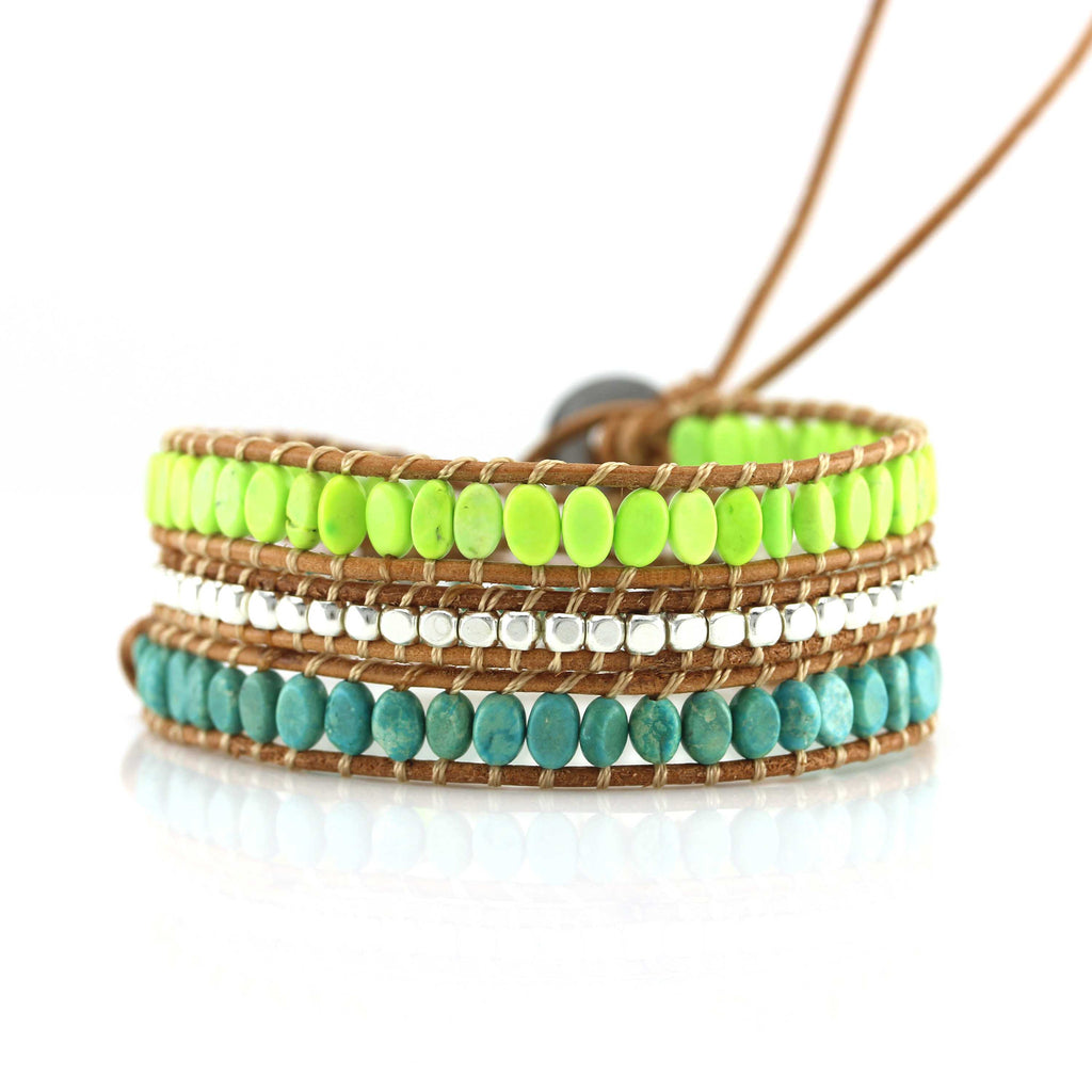 Oval Neon and Turquoise Stones with Metallic Accents
