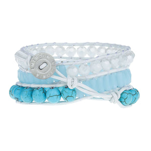 Turquoise Beads with Crystals on White