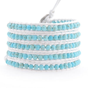 White Leather Turquoise Beads