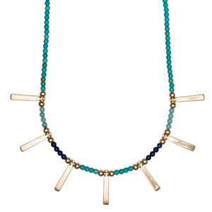 Turquoise Beads with Gold Pendants Necklace