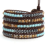 Turquoise, Shell and Hematite on Brown