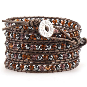Hematite And Mixed Topaz On Brown