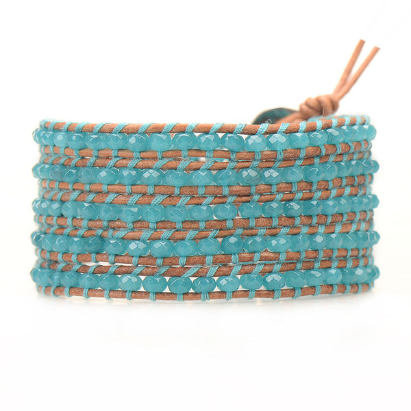 Teal Malaysian Jade Beads on Natural Leather