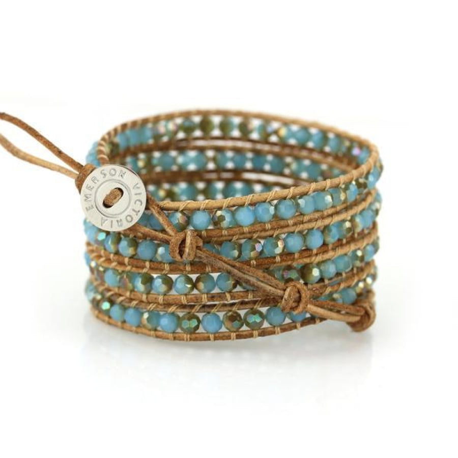 Aruba Blue Metallic On Natural Wrap Bracelet
