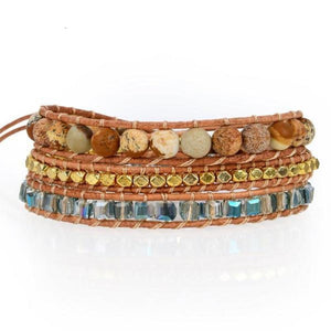 Azul Crystals With Gold Accent On Natural Wrap Bracelet
