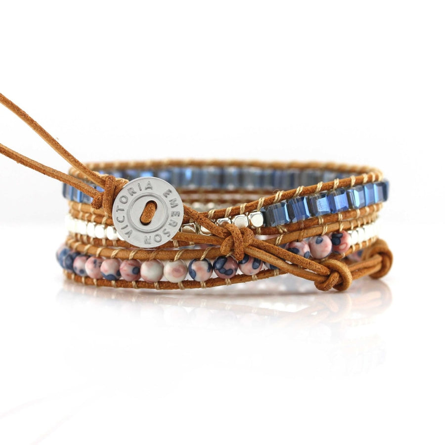 Blue Emerald Cut Crystals With Pink And Stone Wrap Bracelet