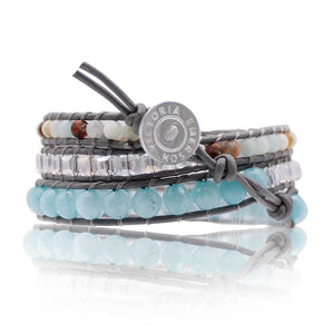Blue Lagoon On Grey Wrap Bracelet