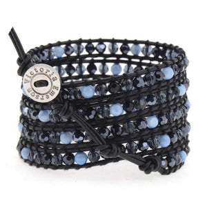 Blue Mother Of Pearl & Mixed Crystals Wrap Bracelet