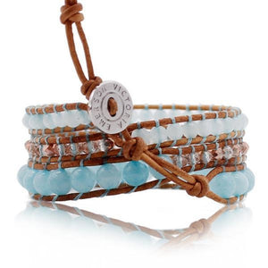 Blue Stone Beads With Rose Gold Accent On Natural Wrap Bracelet