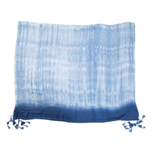 Blue Tie Die With Tassels Scarf