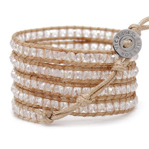 Crystal Ice On Natural - Vegan Wrap Bracelet