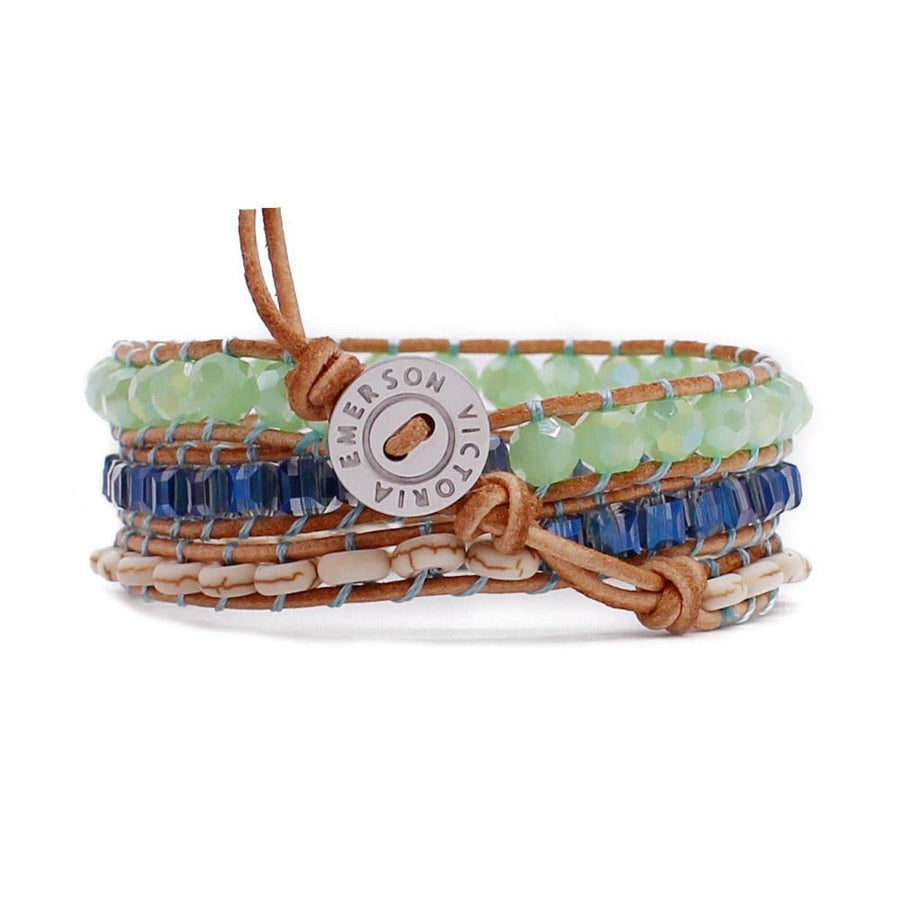 Emerald Cut Blue Crystals With Howlite On Natural Wrap Bracelet