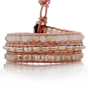 Emerald Cut Crystals And Howlite On Blush Wrap Bracelet