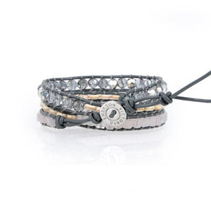 Emerald Cut Crystals With Howlite On Grey Wrap Bracelet