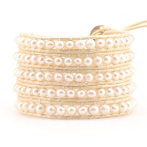 Freshwater Pearls On Ivory Wrap Bracelet