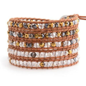 Gold Dorado And Crystal On Natural Wrap Bracelet