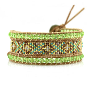 Green Crystals And Japanese Miyuki Seed Beads On Natural Wrap Bracelet