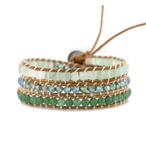 Green Mix Three Wrap Bracelet