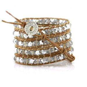 Large Silver Crystals On Natural Wrap Bracelet