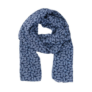 Navy And White Leaf Print Scarf
