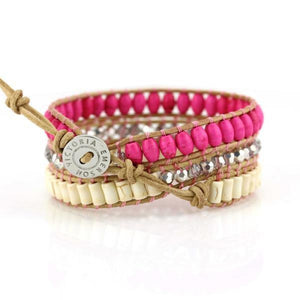 Pink And White Turquoise On Natural Wrap Bracelet