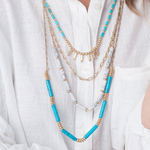 Turquoise And Howlite 4 Chain Necklace Summer2015Newdesigns