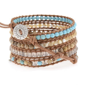 Turquoise & Shell On Natural Wrap Bracelet