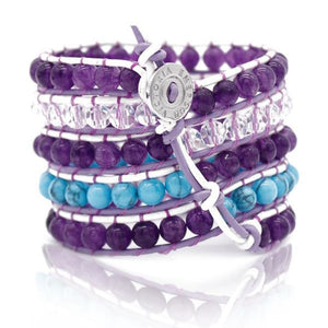 Ultra Violet And Turquoise On White Wrap Bracelet