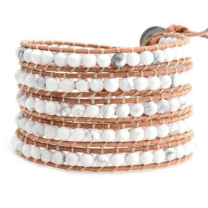 White Howlite On Natural Wrap Bracelet