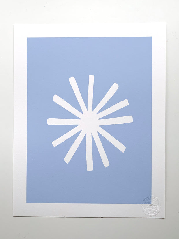 """Aster"" SIMPLE SHAPES Giclee - white/faded periwinkle"