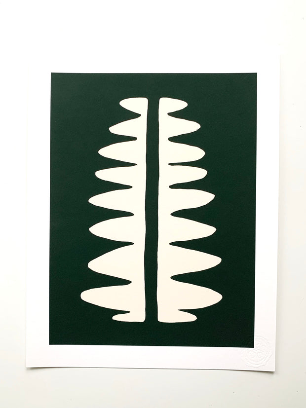 """Fern"" SIMPLE SHAPES Giclee - dark woods/ivory"