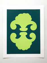 "Load image into Gallery viewer, ""Shields"" SIMPLE SHAPES Giclee - new leaf/marine"