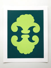 """Shields"" SIMPLE SHAPES Giclee - new leaf/marine"